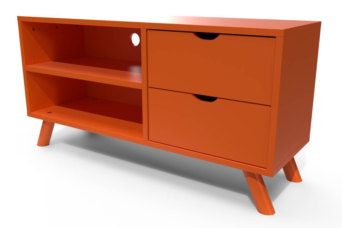 ABC MEUBLES Meuble TV Scandinave Viking bois - / - Orange