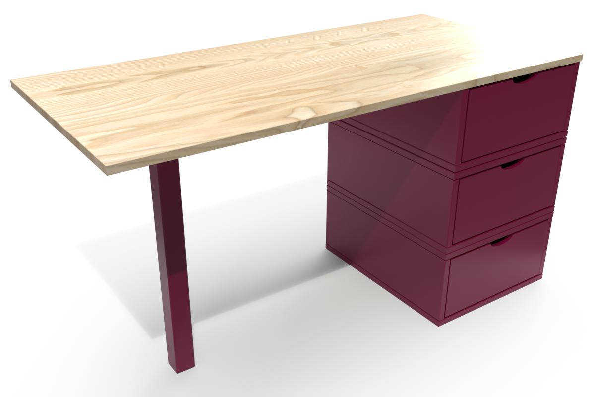 Abc meubles - bureau cube 3 tiroirs vernis naturel/prune