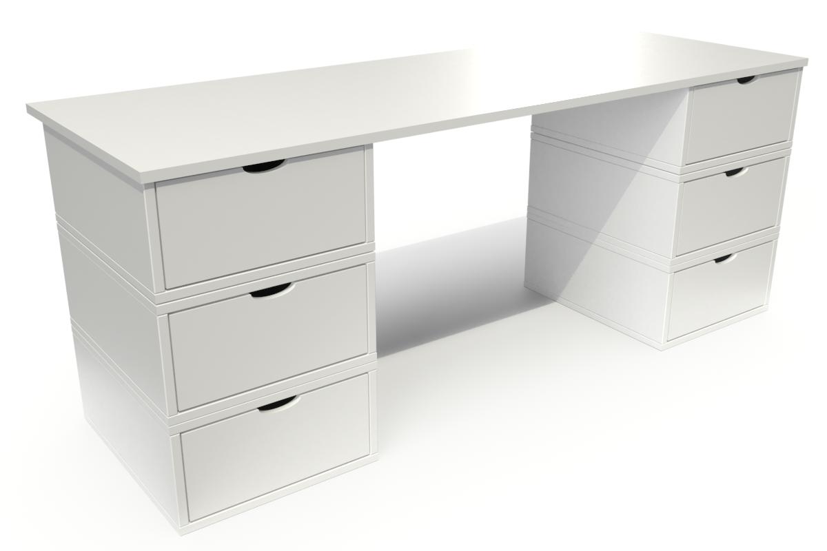 ABC MEUBLES Bureau Cube long 6 tiroirs - / - Blanc
