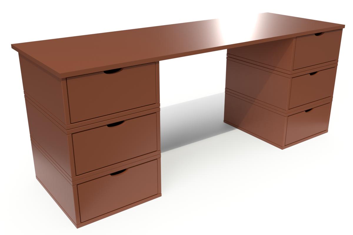 ABC MEUBLES Bureau Cube long 6 tiroirs - / - Chocolat