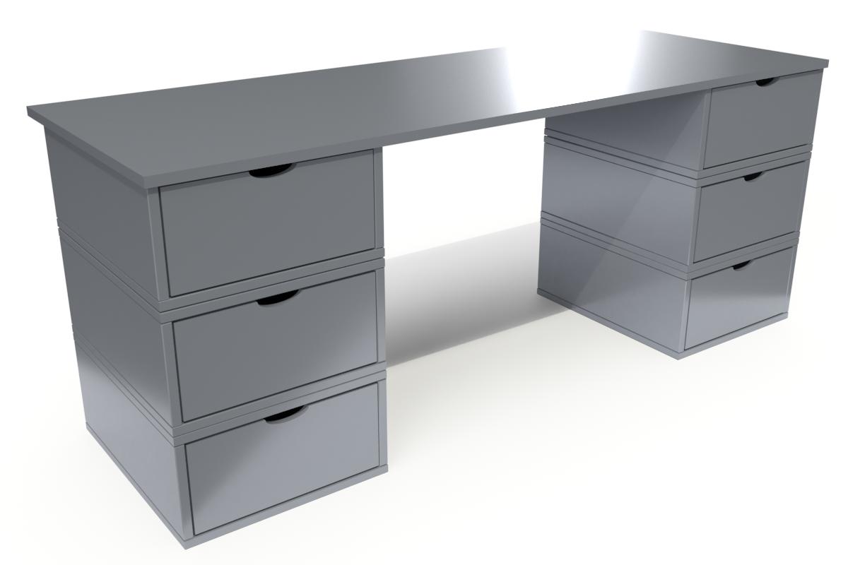 ABC MEUBLES Bureau Cube long 6 tiroirs - / - Gris Aluminium