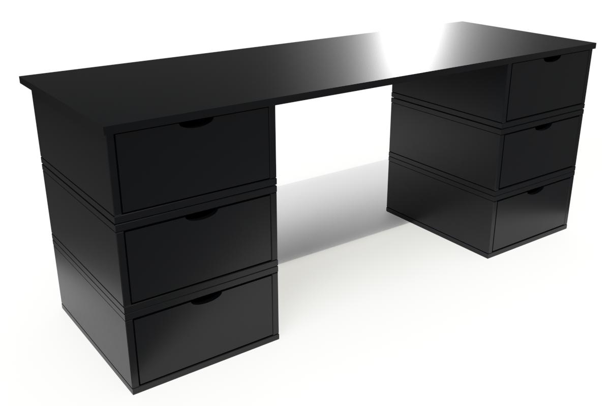 ABC MEUBLES Bureau Cube long 6 tiroirs - / - Noir