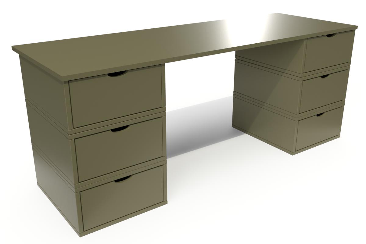 ABC MEUBLES Bureau Cube long 6 tiroirs - / - Taupe