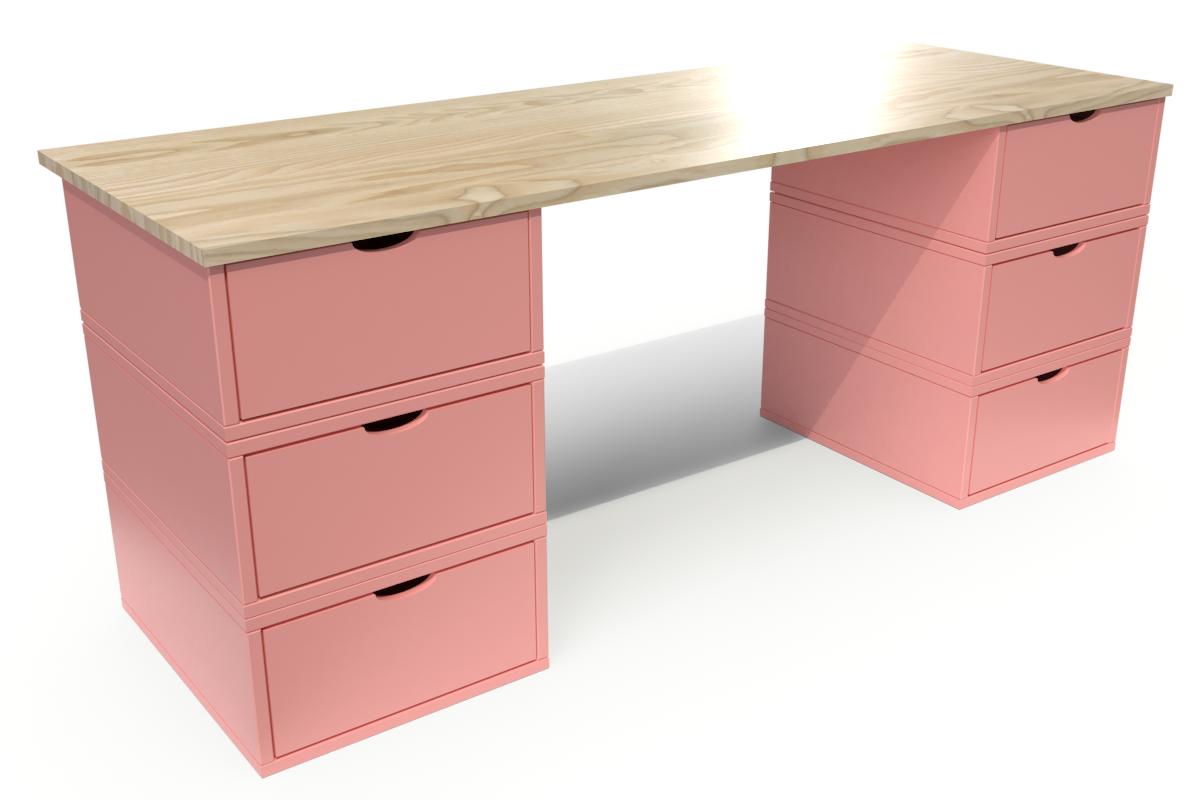 Abc meubles - bureau cube long 6 tiroirs vernis naturel/rose