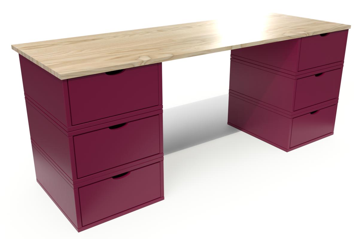 Abc meubles - bureau cube long 6 tiroirs vernis naturel/prune