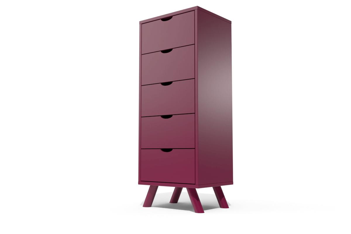 ABC MEUBLES Chiffonnier 5 tiroirs Viking Scandinave bois - / - Prune