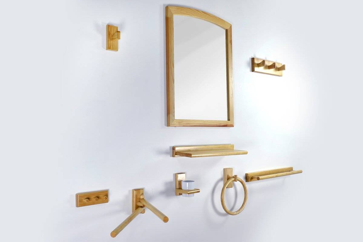Abc meubles - kit salle de bain et wc bois vernis vernis naturel