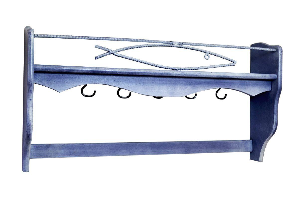ABC MEUBLES Porte casseroles bleu patine en bois - / - Bleu patine