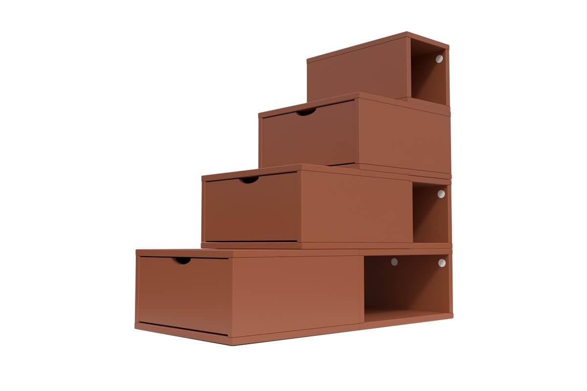 ABC MEUBLES Escalier Cube de rangement hauteur 100 cm - / - Chocolat