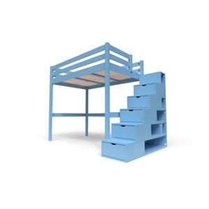 ABC MEUBLES Lit Mezzanine Sylvia avec escalier cube bois - 120x200 - Bleu Pastel - Publicité