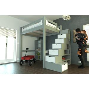 Abc meubles - lit mezzanine alpage bois + escalier cube hauteur réglable 160x200 gris/blanc - Publicité