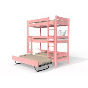Abc meubles - lit superposé abc 4 places en bois massif 90x190 rose pastel 90x190 - Publicité
