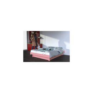 Abc meubles - lit plateforme bois massif pas cher rose pastel 140x200 - Publicité