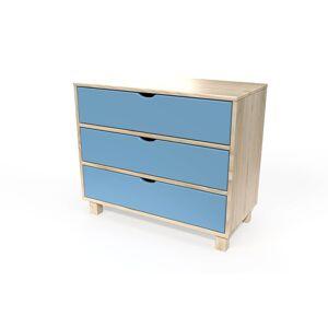 ABC MEUBLES Commode cube 3 tiroirs - / - Vernis naturel/Bleu Pastel - Publicité