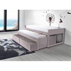 ABC MEUBLES Lit Gigogne Maxi 90x200 bois + tiroirs de rangement - 90x200 - Violet Pastel - Publicité