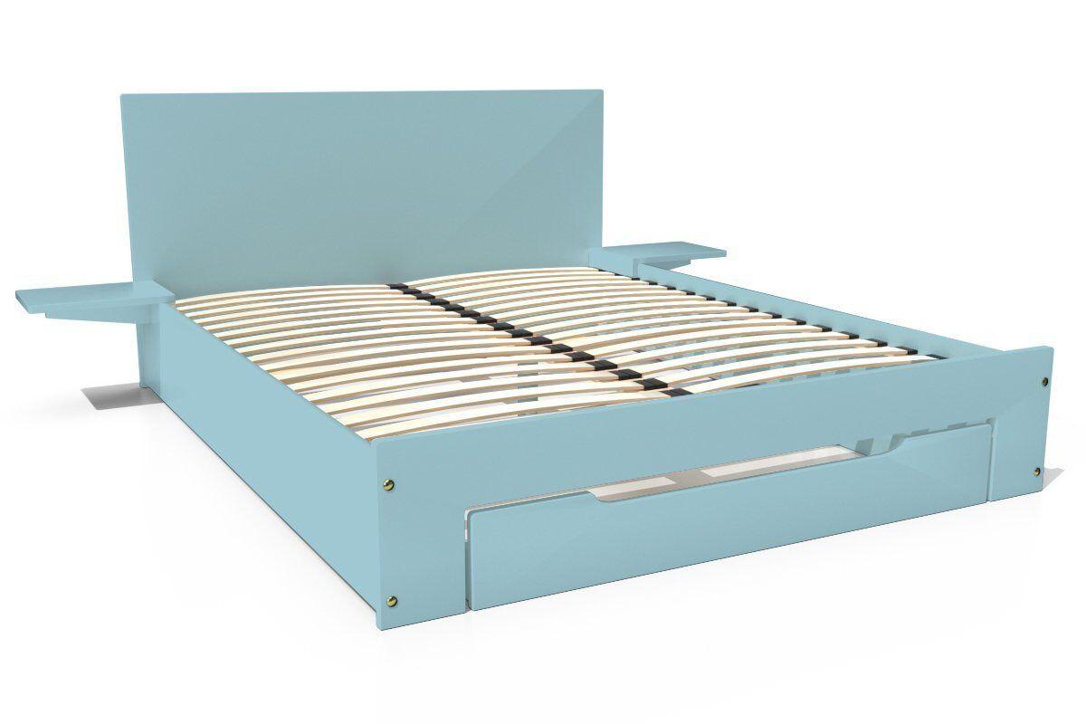 Abc meubles - lit happy + tiroirs + chevets amovibles - 2 places bleu pastel 140x190