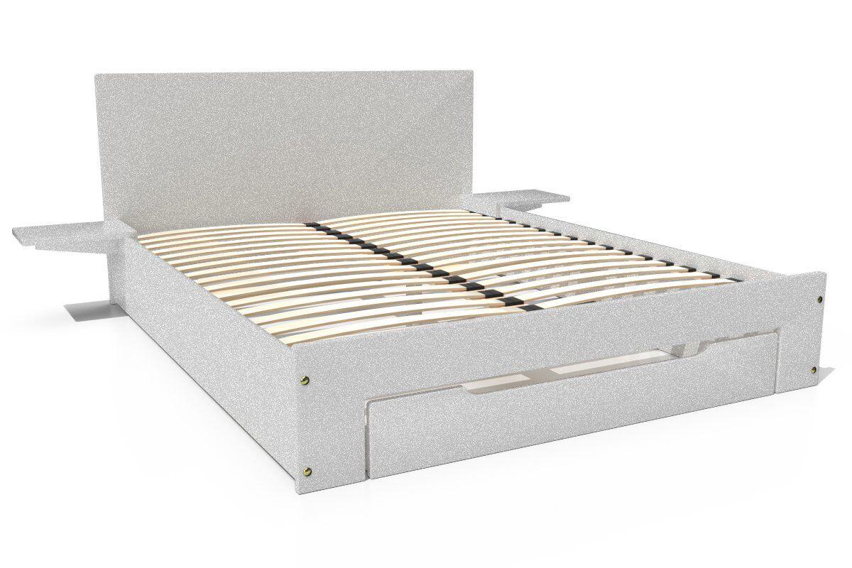ABC MEUBLES Lit Happy + tiroirs + chevets amovibles - 2 places - 160x200 - Gris Aluminium