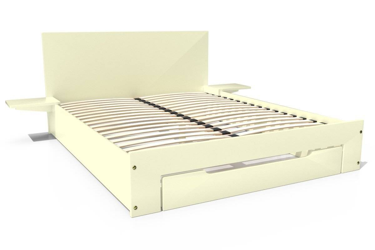 Abc meubles - lit happy + tiroirs + chevets amovibles - 2 places ivoire 140x190
