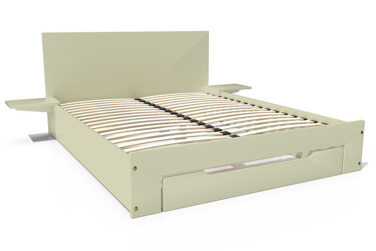 Abc meubles - lit happy + tiroirs + chevets amovibles - 2 places moka 140x190