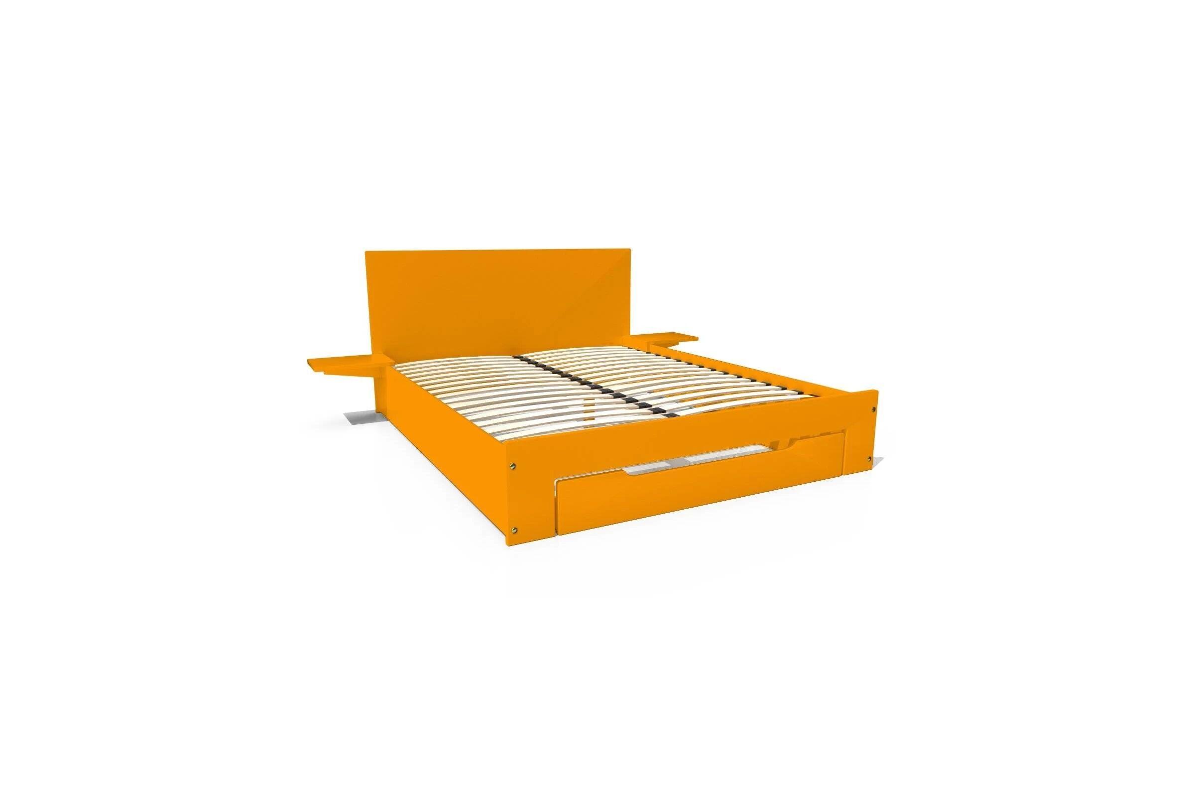 Abc meubles - lit happy + tiroirs + chevets amovibles - 2 places orange 140x200