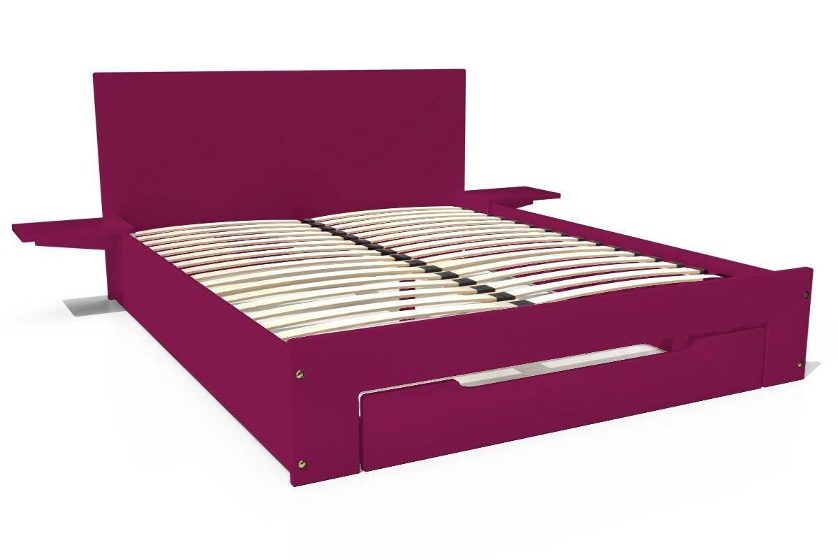 Abc meubles - lit happy + tiroirs + chevets amovibles - 2 places prune 160x200