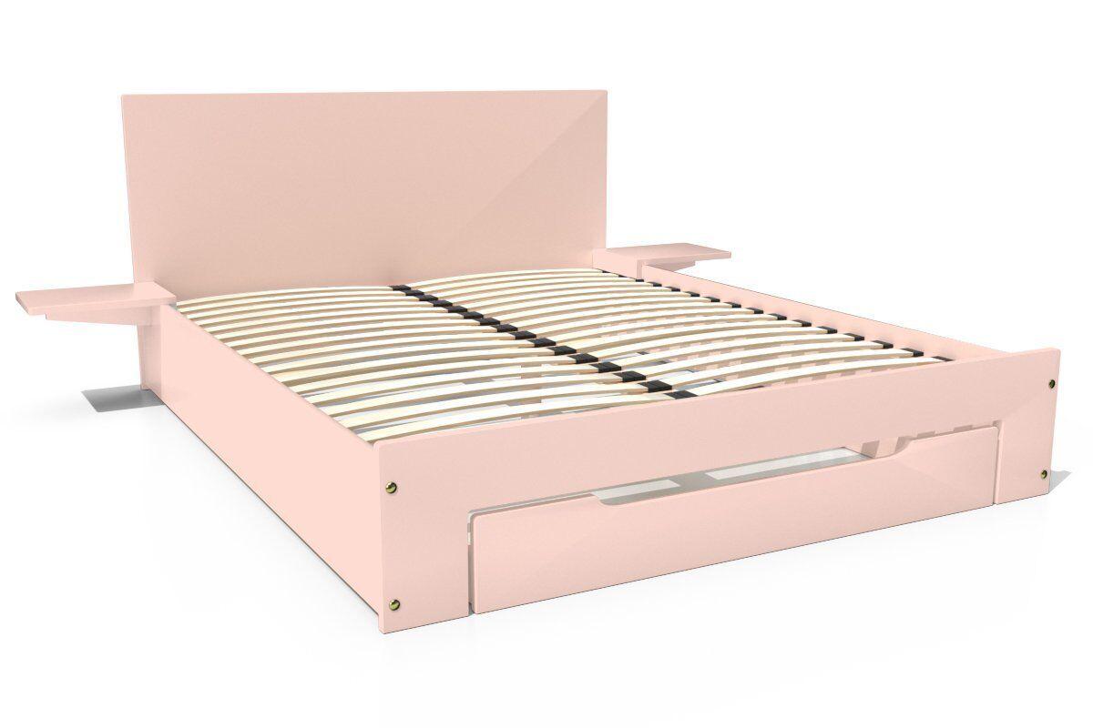 Abc meubles - lit happy + tiroirs + chevets amovibles - 2 places rose pastel 140x190
