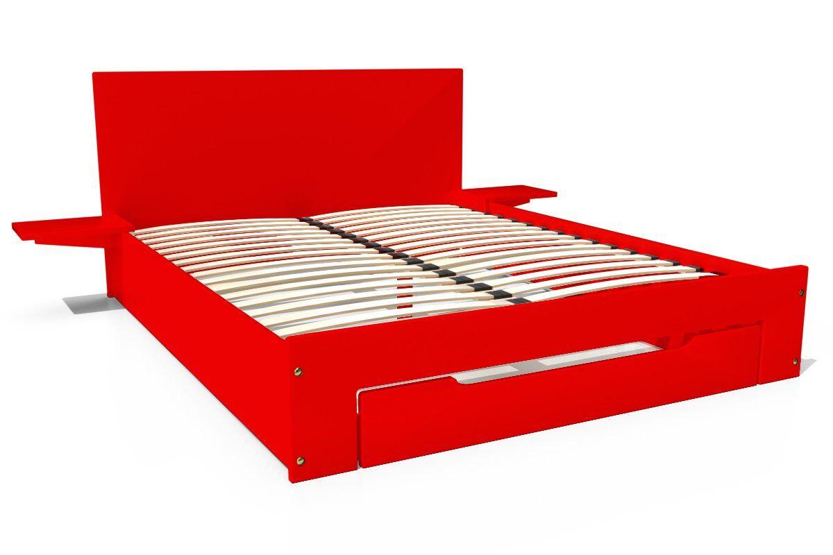 ABC MEUBLES Lit Happy + tiroirs + chevets amovibles - 2 places - 140x190 - Rouge