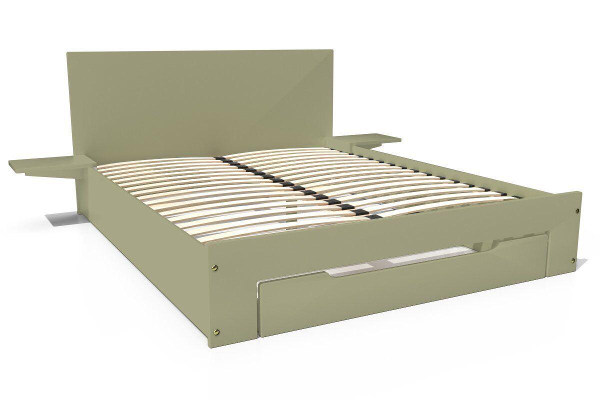 Abc meubles - lit happy + tiroirs + chevets amovibles - 2 places taupe 140x190