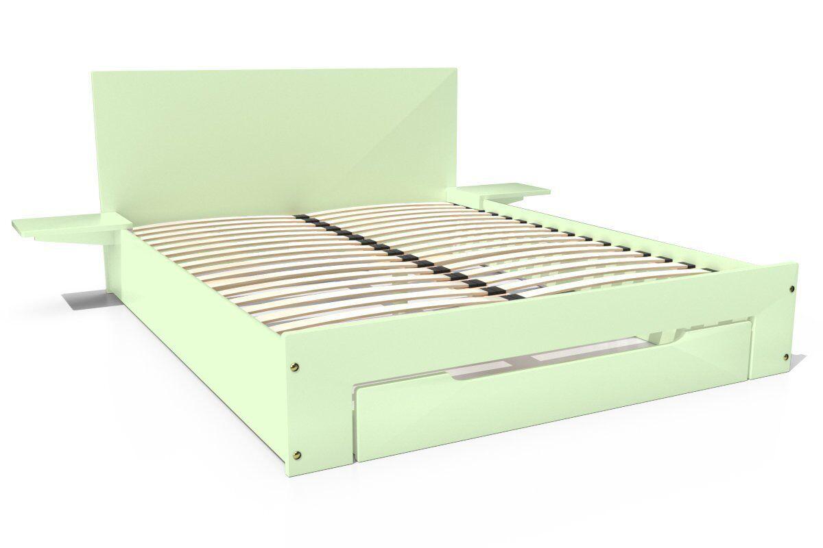 Abc meubles - lit happy + tiroirs + chevets amovibles - 2 places vert pastel 160x200