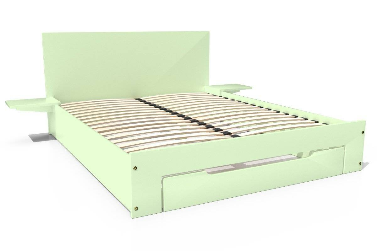 Abc meubles - lit happy + tiroirs + chevets amovibles - 2 places vert pastel 140x190
