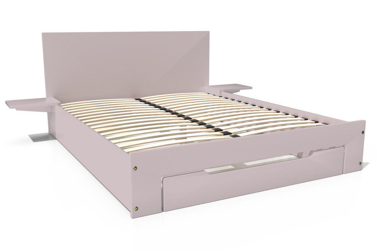 ABC MEUBLES Lit Happy + tiroirs + chevets amovibles - 2 places - 140x200 - Violet Pastel