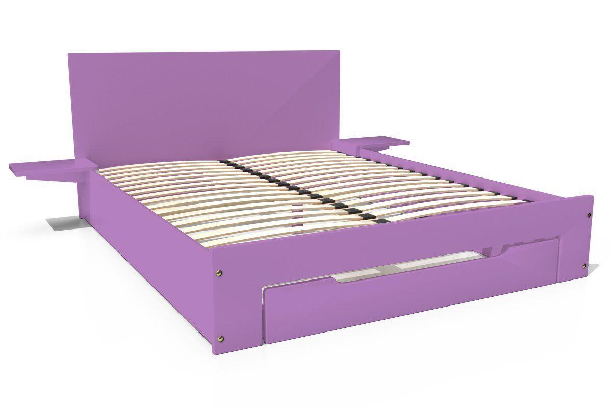 Abc meubles - lit happy + tiroirs + chevets amovibles - 2 places lilas 140x200