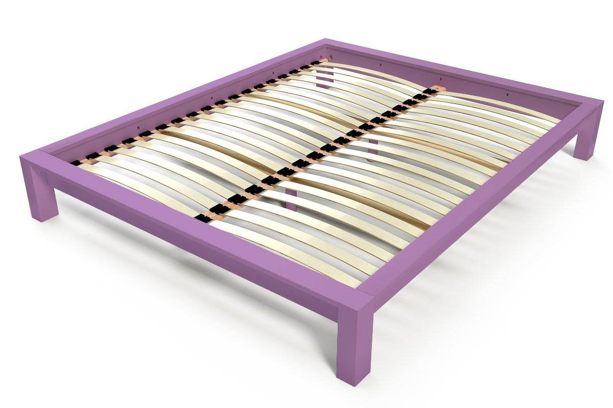 Abc meubles - lit king 2 places bois lilas 140x190