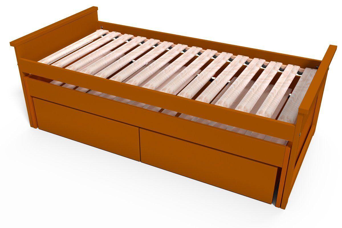 Abc meubles - lit gigogne maxi 90 x 200cm + tiroirs chocolat 90x200