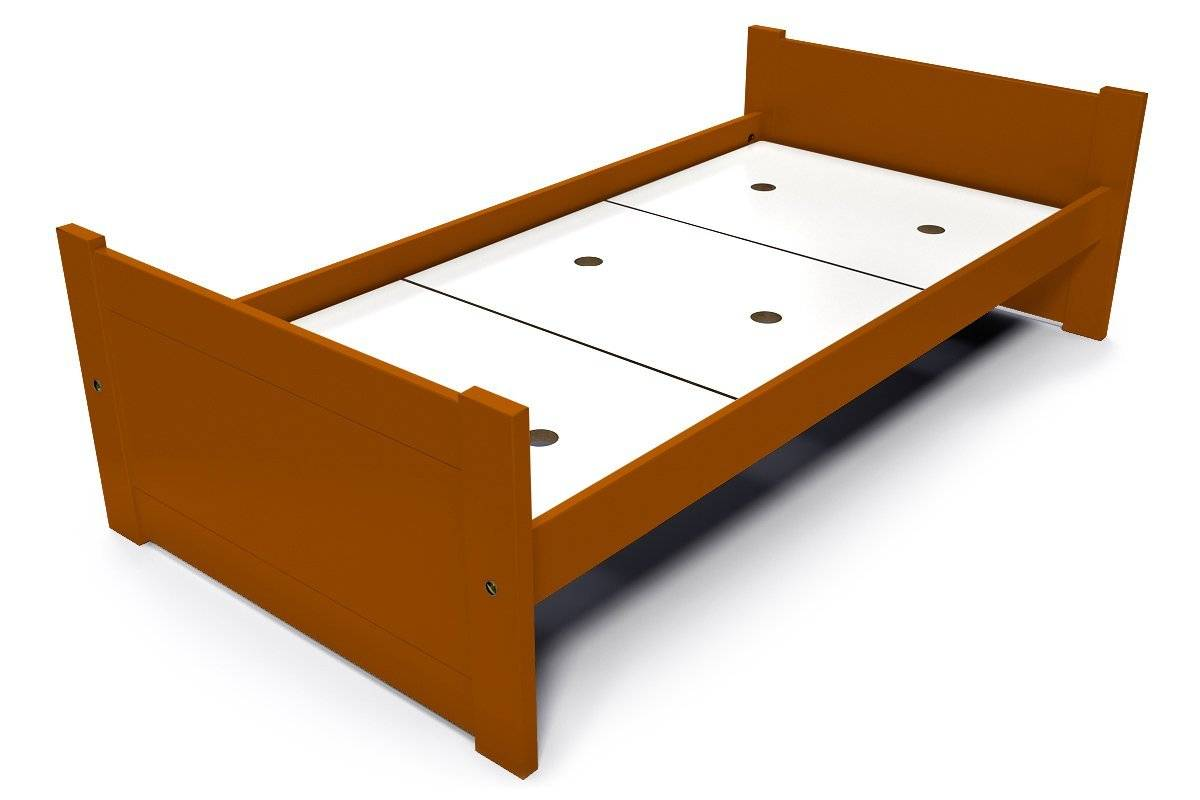 Abc meubles - lit solo 90x190 cm hêtre chocolat 90x190