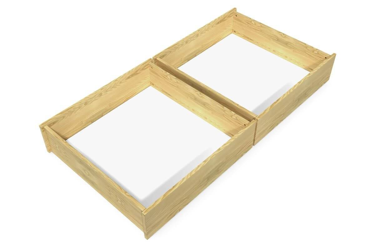 Abc meubles - lot de 2 tiroirs sur roulettes hêtre massif hêtre miel