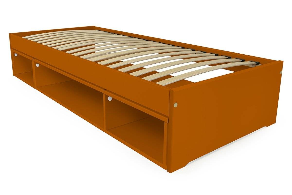 Abc meubles - lit 90x200 maël avec cube bois chocolat 90x200