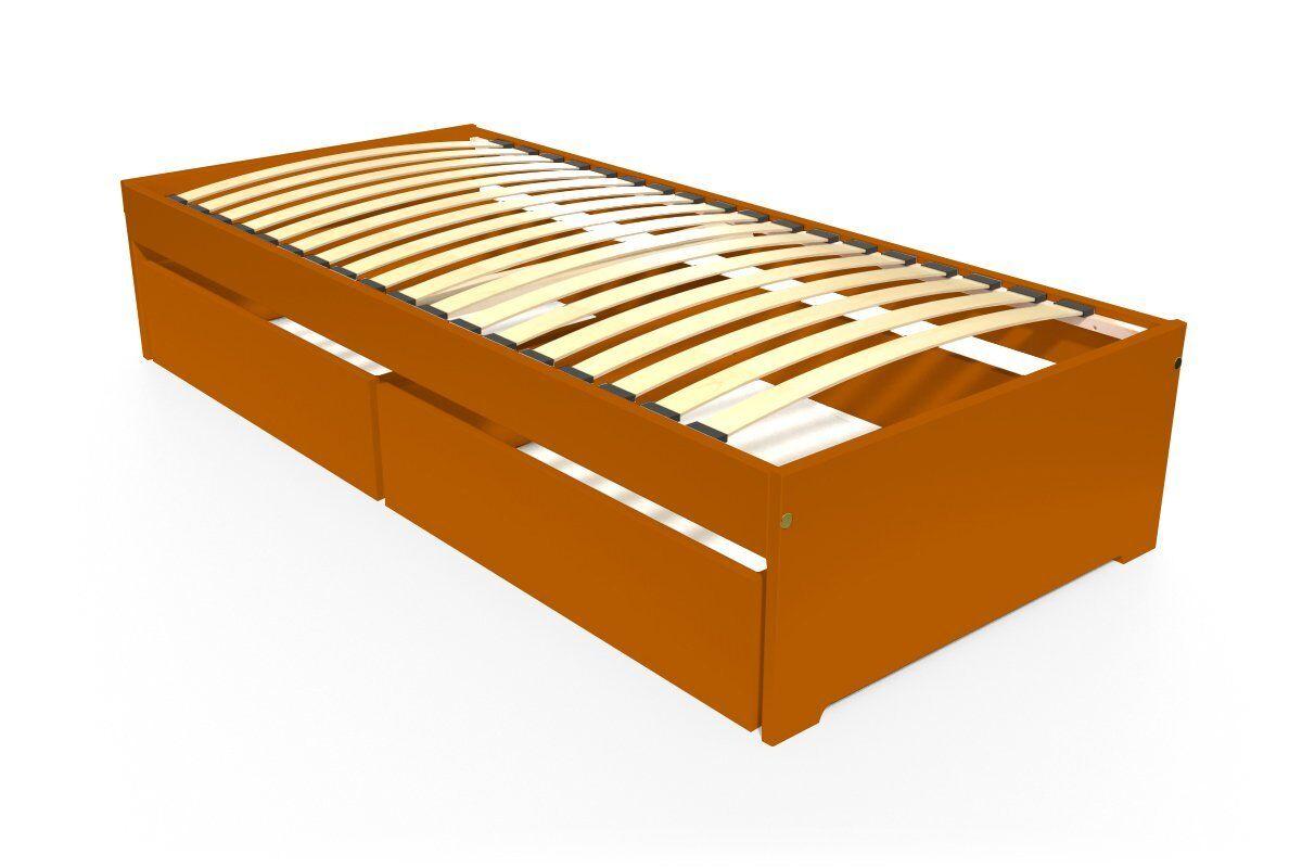 Abc meubles - lit simple malo 90x190 cm + tiroirs chocolat 90x190