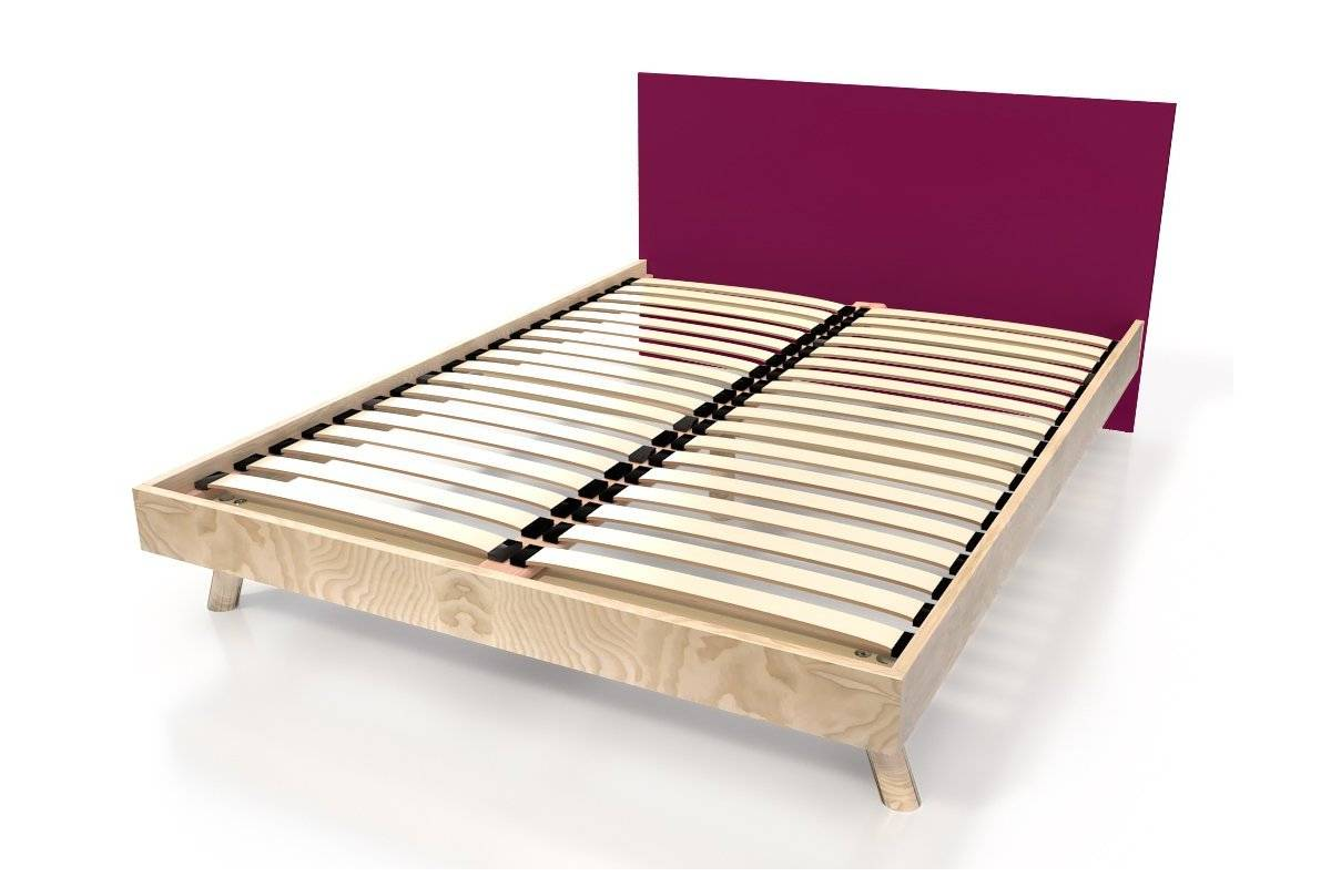 Abc meubles - lit viking style scandinave bois 2 places 140x200 vernis naturel/prune