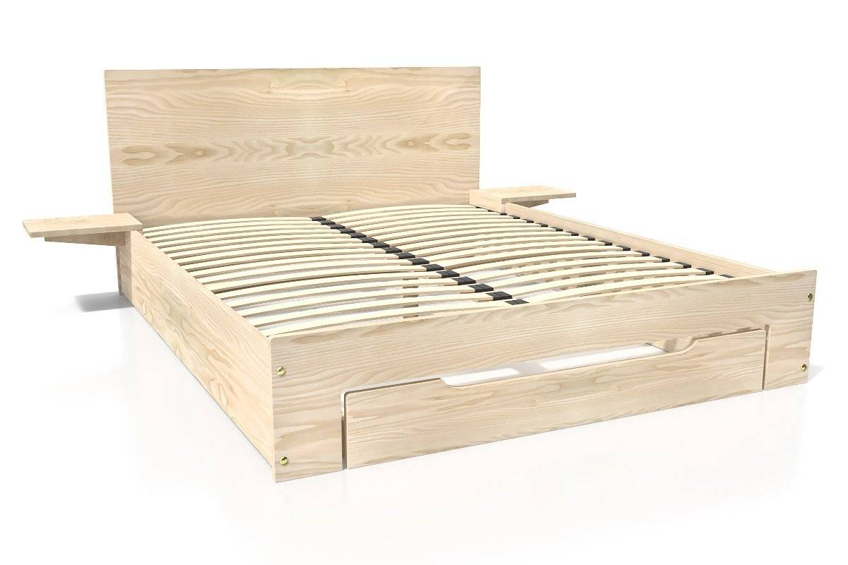 Abc meubles - lit happy + tiroirs + chevets amovibles - 2 places brut 140x200