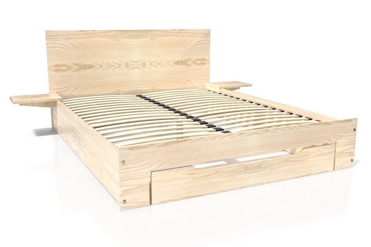 Abc meubles - lit happy + tiroirs + chevets amovibles - 2 places vernis naturel 140x190