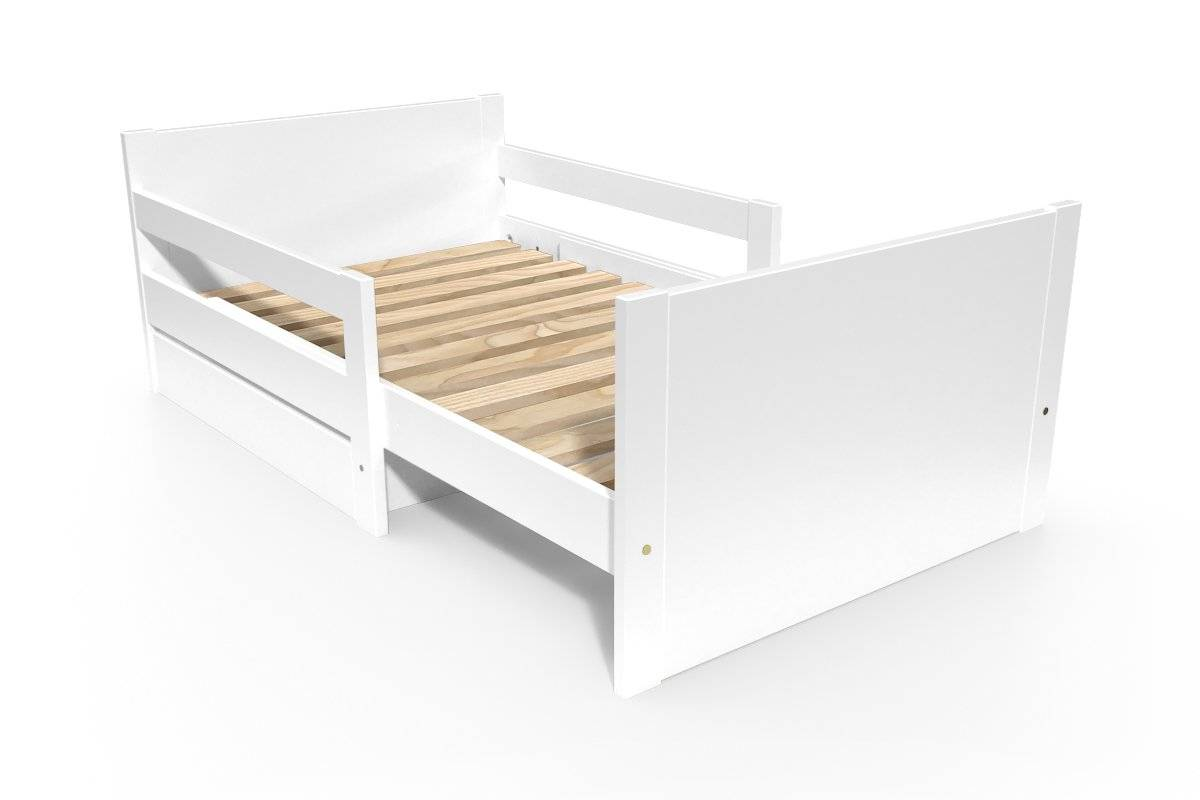 ABC MEUBLES Lit évolutif enfant avec tiroir bois - 90 x (140/170/200) - Blanc