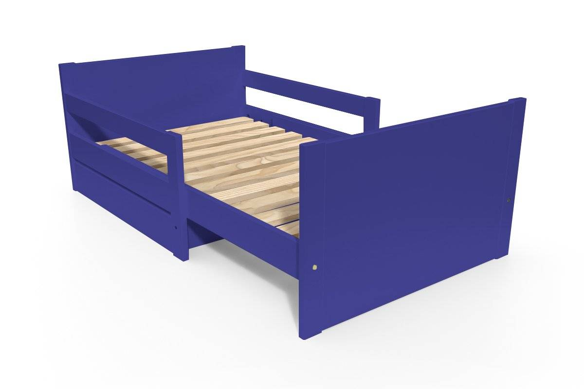 ABC MEUBLES Lit évolutif enfant avec tiroir bois - 90 x (140/170/200) - Bleu foncé