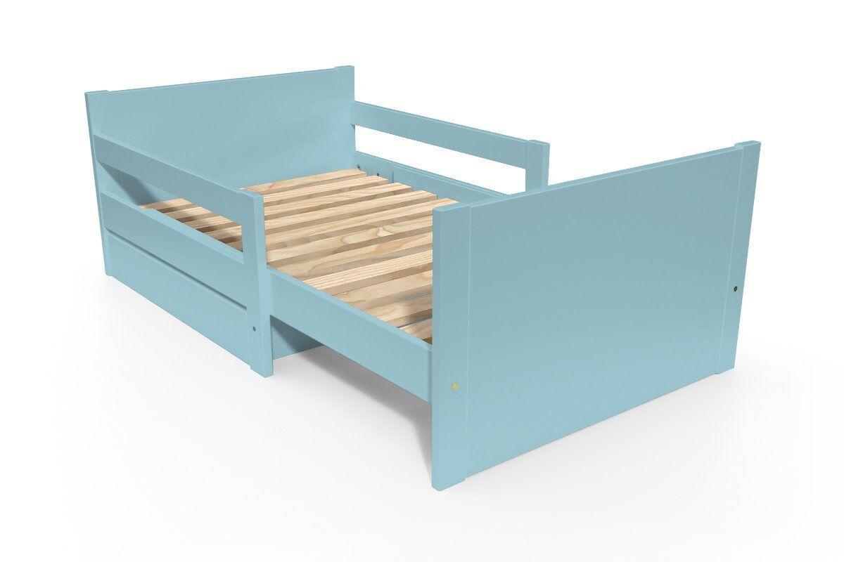 Abc meubles - lit évolutif enfant avec tiroir bois bleu pastel 90 x (140/170/200)
