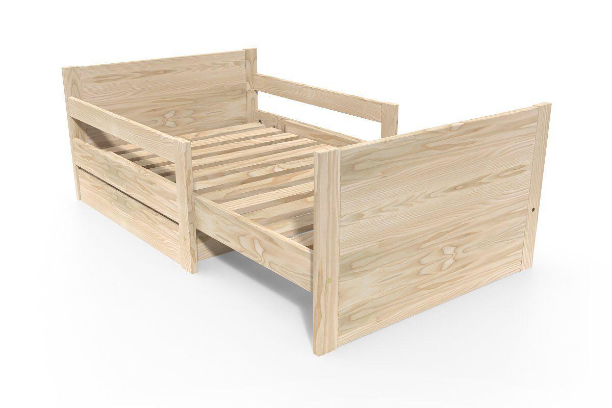 Abc meubles - lit évolutif enfant avec tiroir bois brut 90 x (140/170/200)