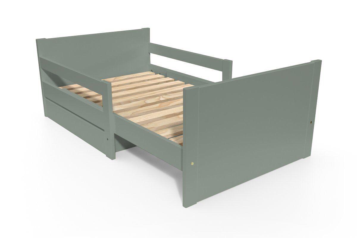 Abc meubles - lit évolutif enfant avec tiroir bois gris 90 x (140/170/200)