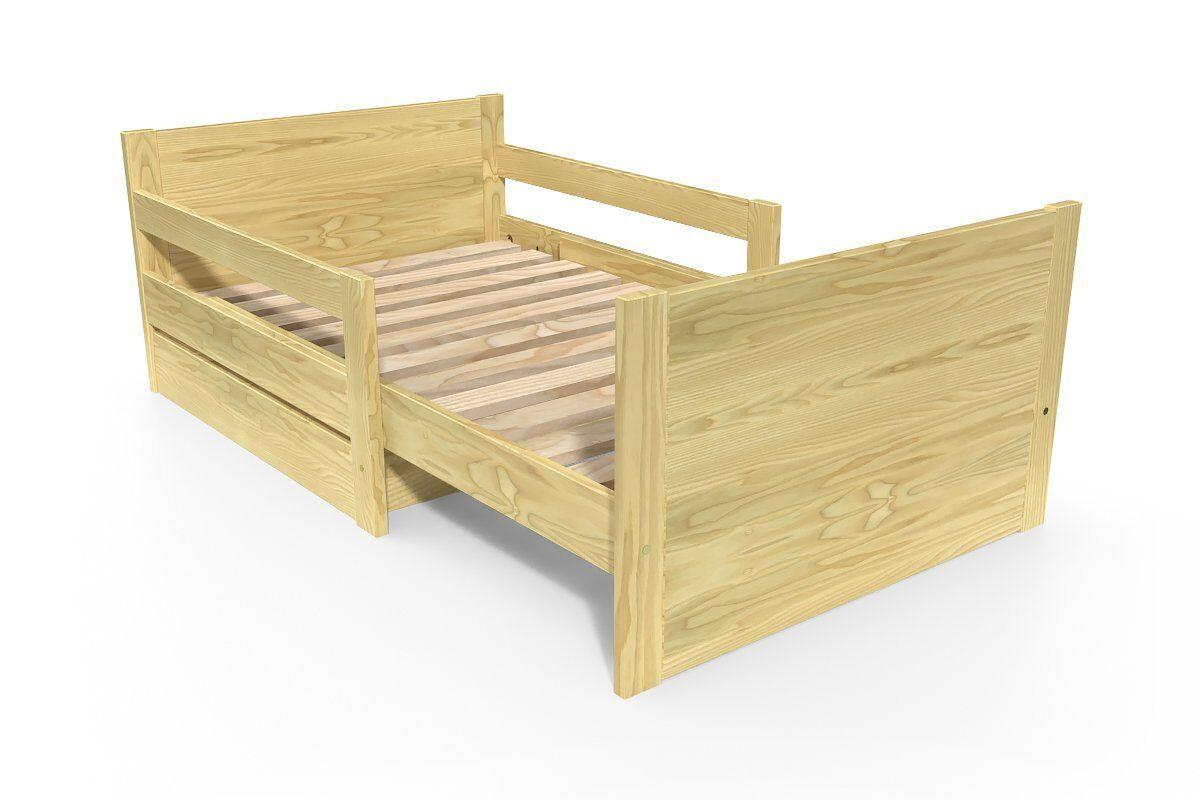 Abc meubles - lit évolutif enfant avec tiroir bois miel 90 x (140/170/200)