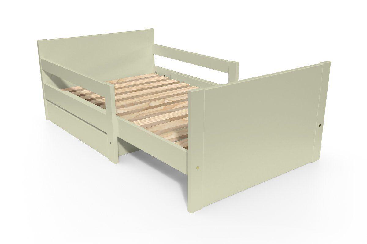 Abc meubles - lit évolutif enfant avec tiroir bois moka 90 x (140/170/200)