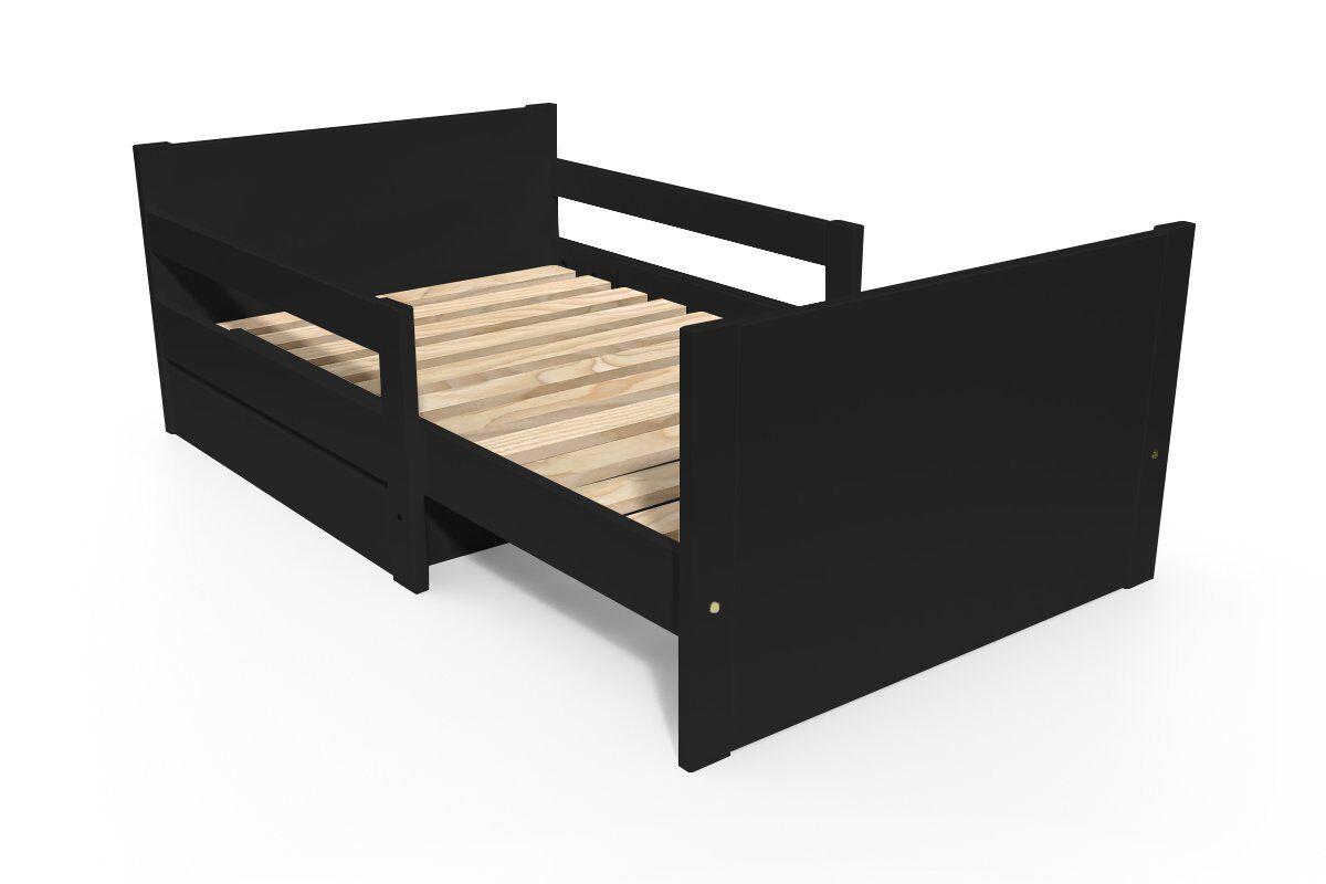 Abc meubles - lit évolutif enfant avec tiroir bois noir 90 x (140/170/200)