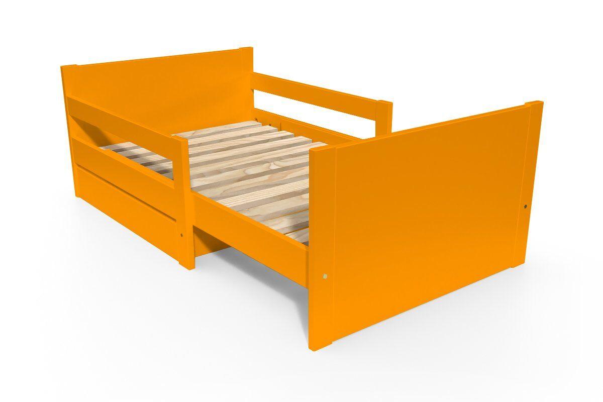ABC MEUBLES Lit évolutif enfant avec tiroir bois - 90 x (140/170/200) - Orange